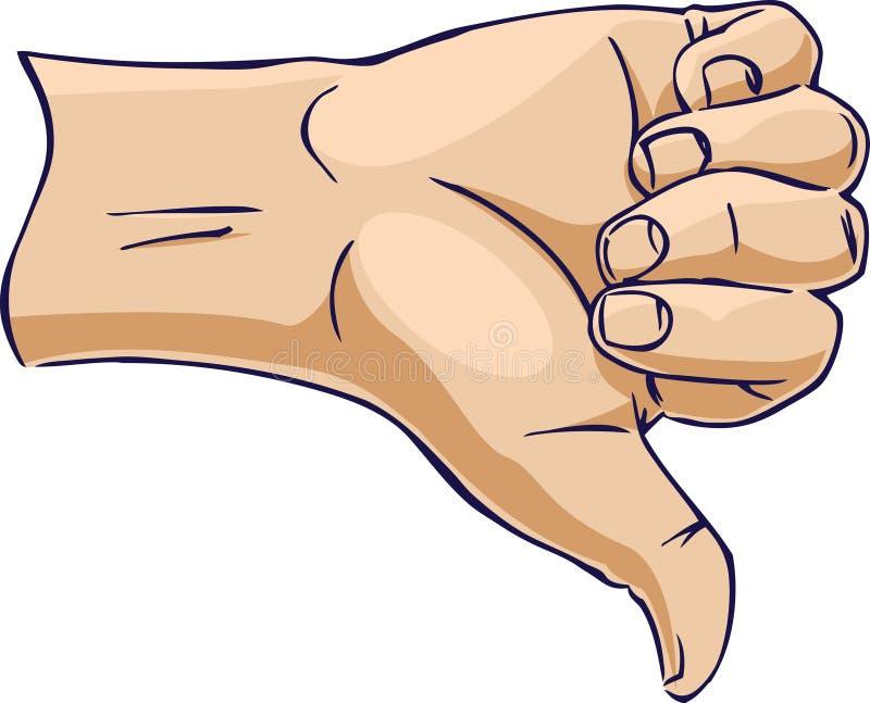 Mani che mostrano pollice giù dal lato illustrazione di stock