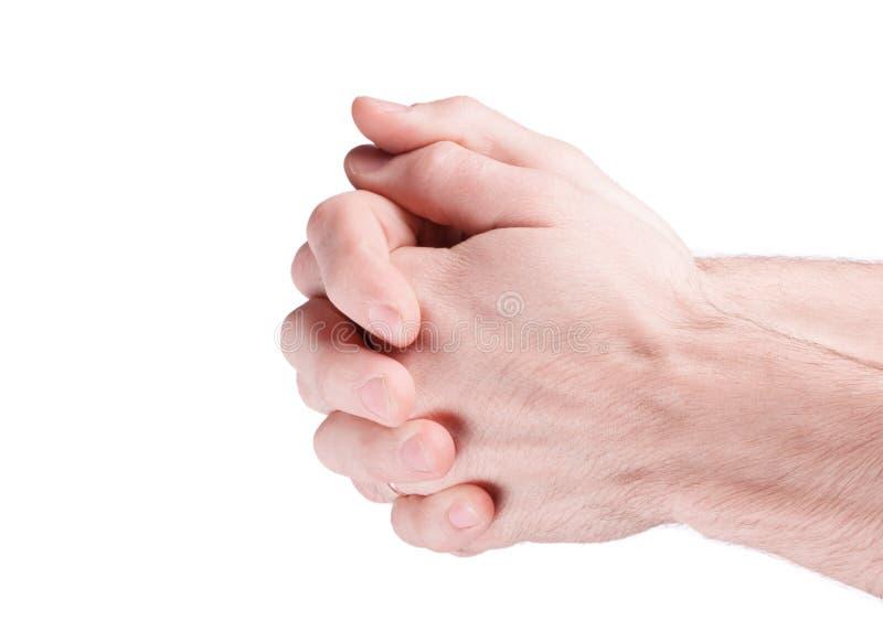 Mani che pregano uomo fotografia stock