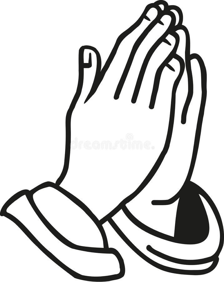Mani che pregano vettore illustrazione vettoriale