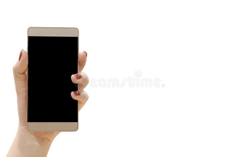 Mani che prendono il telefono Ha un fondo bianco con il ritaglio p immagini stock libere da diritti