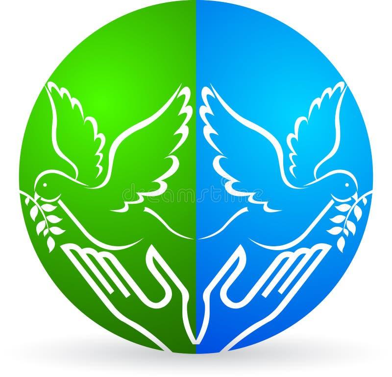 Mani che rilasciano il piccione di pace illustrazione vettoriale