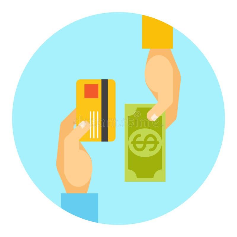 Mani che scambiano pagamento o soldi nell'affare royalty illustrazione gratis