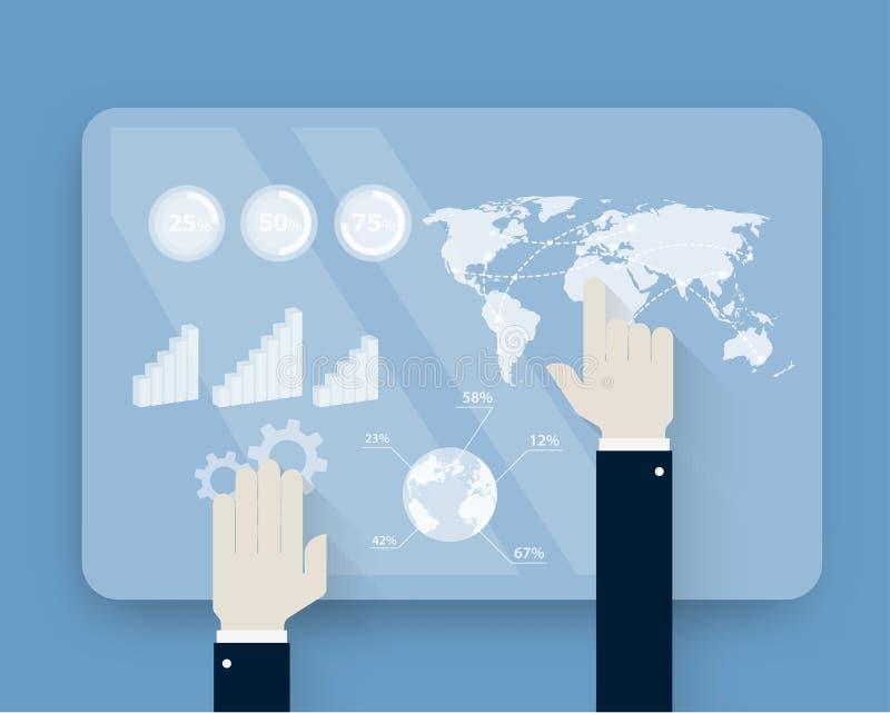 Mani che spingono touch screen sull'interfaccia futuristica royalty illustrazione gratis