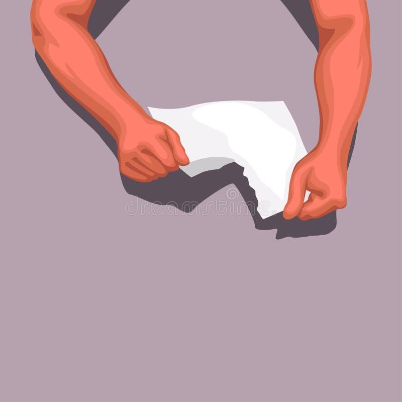 Mani che strappano carta illustrazione di stock