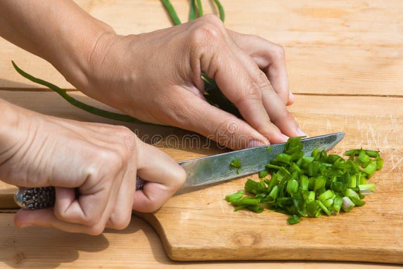 Mani che tagliano cipolla a pezzi verde sul tagliere fotografia stock libera da diritti