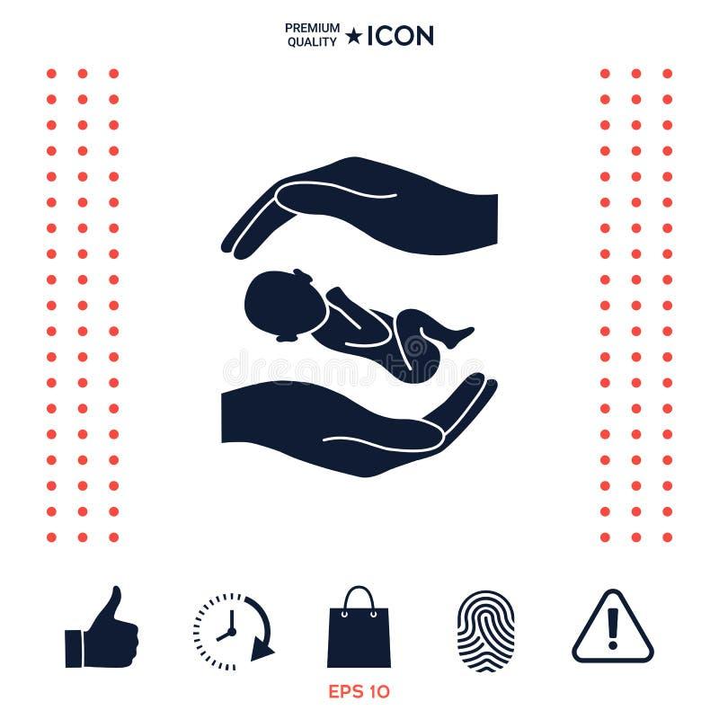Download Mani che tengono bambino illustrazione vettoriale. Illustrazione di cuore - 117975326