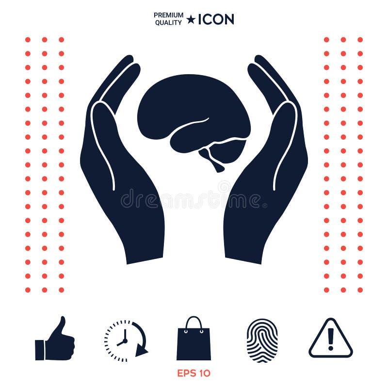 Download Mani Che Tengono Cervello - Icona Di Protezione Illustrazione Vettoriale - Illustrazione di protezione, scienza: 117975388