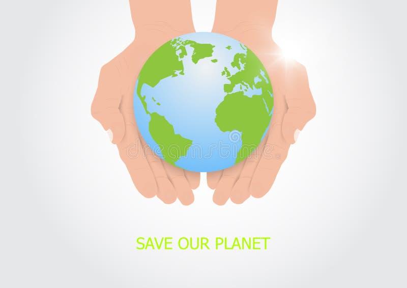 Mani che tengono con attenzione terra, concetto ambientale royalty illustrazione gratis