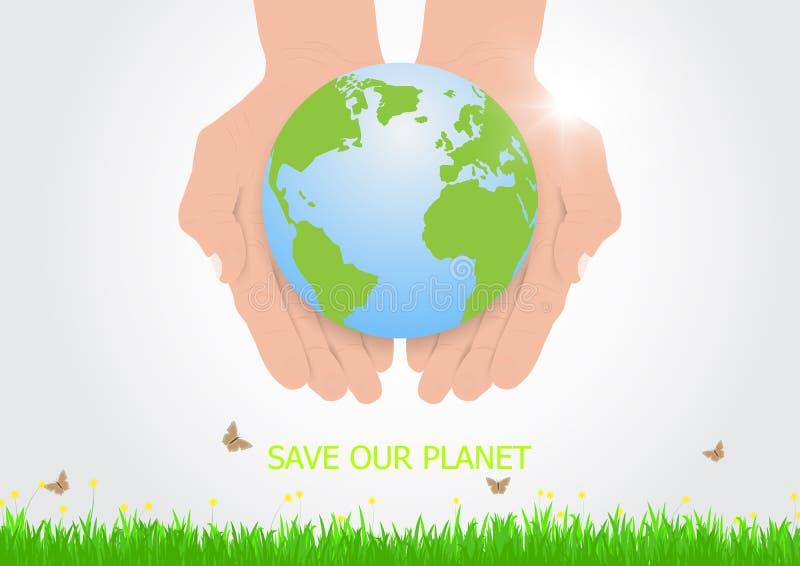 Mani che tengono con attenzione terra, concetto ambientale illustrazione vettoriale