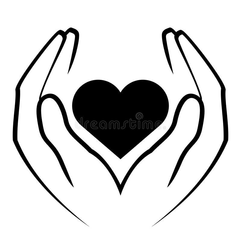 Mani che tengono cuore illustrazione vettoriale