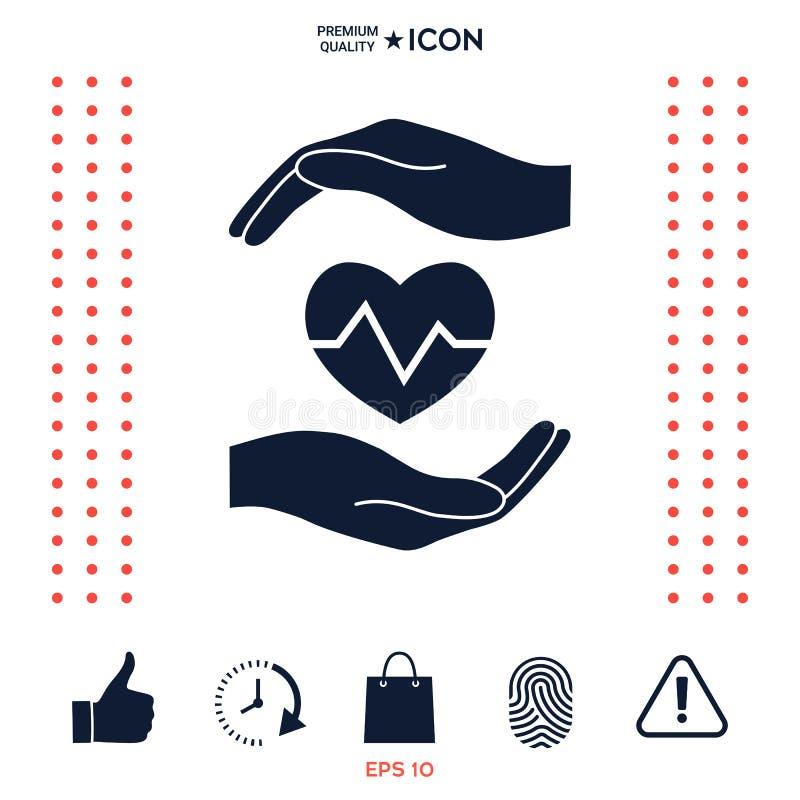 Download Mani Che Tengono Cuore Icona Medica Illustrazione Vettoriale - Illustrazione di curva, heartbeat: 117975500