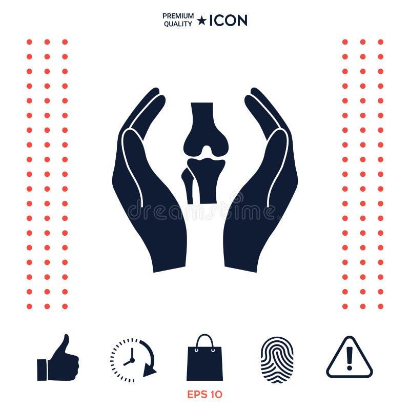 Download Mani Che Tengono Ginocchio-giunto - Icona Di Protezione Illustrazione Vettoriale - Illustrazione di background, umano: 117975452