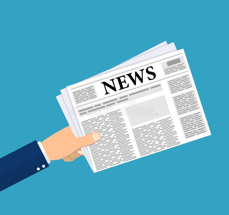 Mani che tengono giornale illustrazione vettoriale