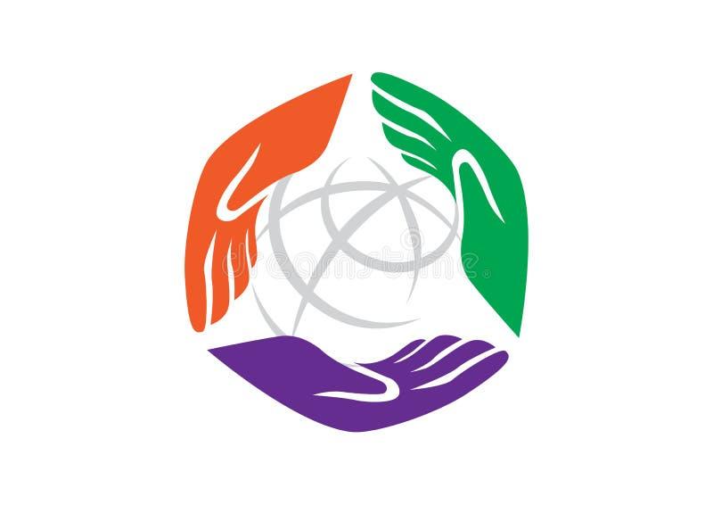 3 mani che tengono globo per l'icona della comunità illustrazione vettoriale
