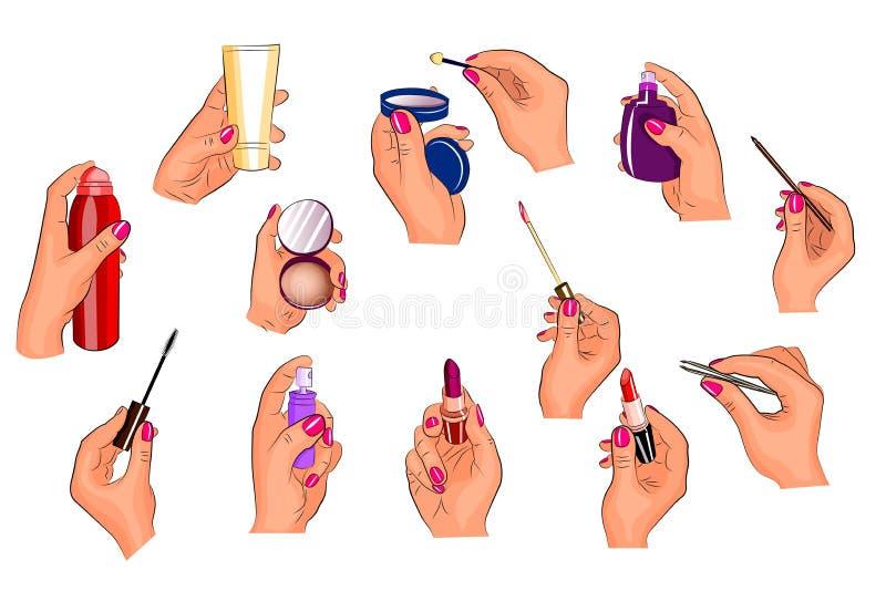 Mani che tengono i cosmetici differenti illustrazione di stock
