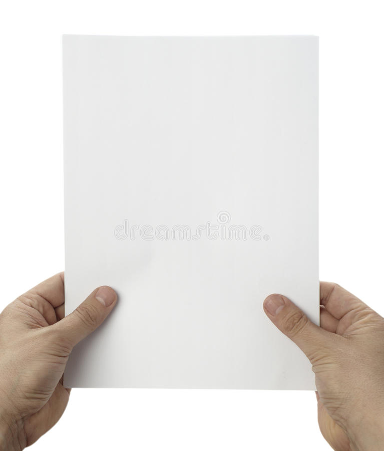 Mani che tengono il documento in bianco dell'ufficio del taccuino fotografia stock