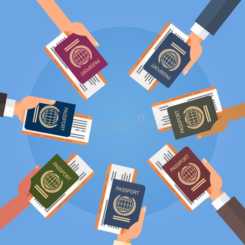 Mani che tengono il documento di viaggio del passaggio di imbarco del biglietto del passaporto illustrazione vettoriale