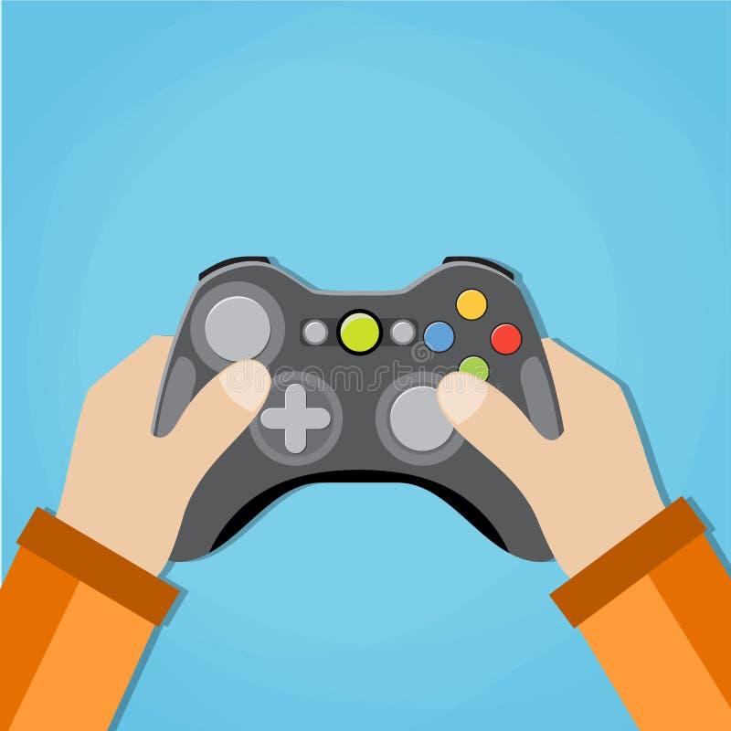 Mani che tengono il gamepad metallico della vecchia scuola royalty illustrazione gratis
