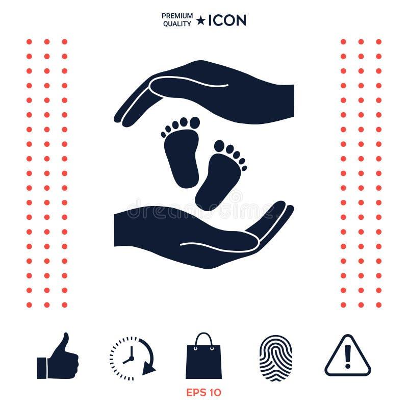 Download Mani Che Tengono Il Piede Del Bambino, Simbolo Di Protezione Illustrazione Vettoriale - Illustrazione di amore, salute: 117975335