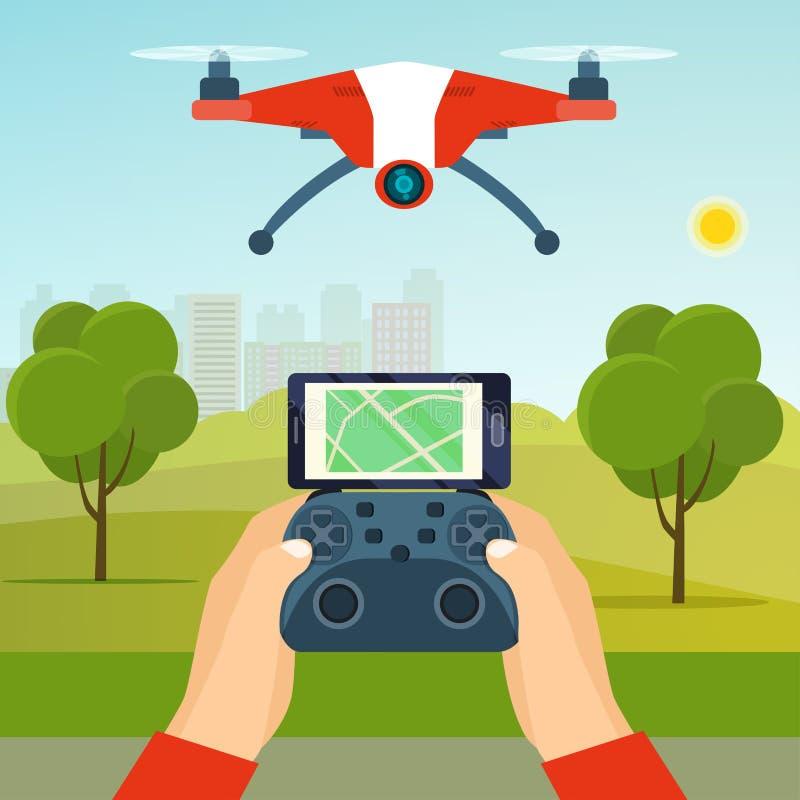 Mani che tengono il regolatore del fuco Quadcopter volante del fuco nel parco illustrazione vettoriale