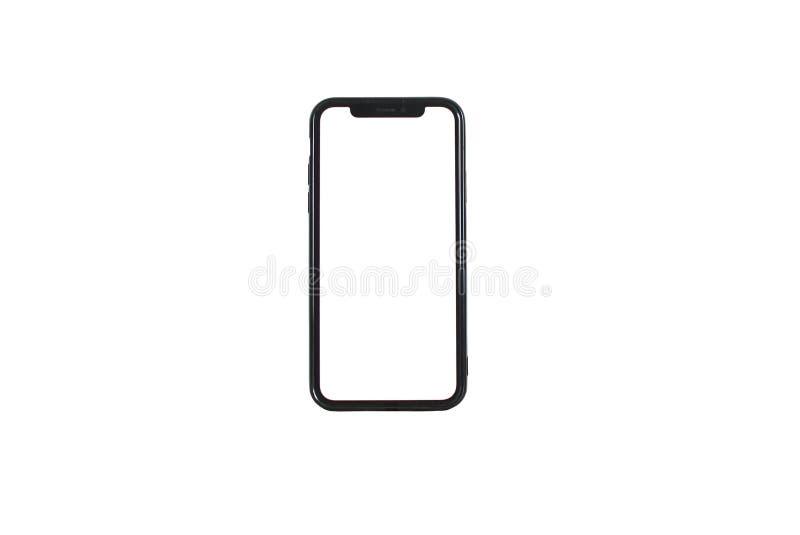 Mani che tengono il telefono in un fondo bianco immagini stock