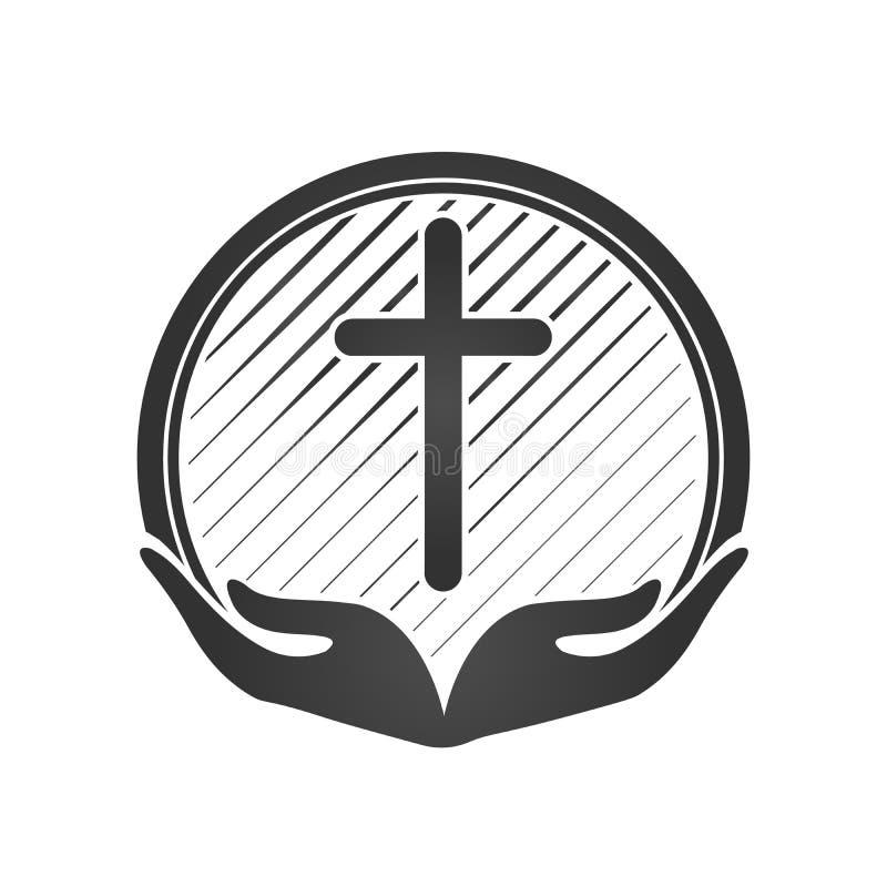 Mani che tengono incrocio, le icone o i simboli Religione, logo cristiano della chiesa illustrazione di stock