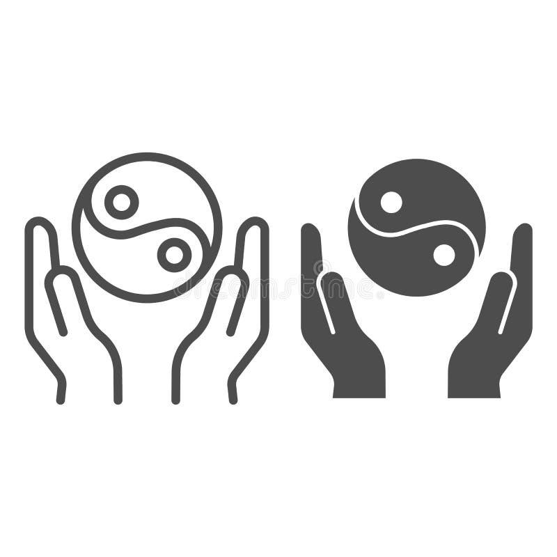 Mani che tengono la linea di yin yang e l'icona di glifo Illustrazione di vettore di simbolo di yin yang isolata su bianco Profil illustrazione di stock