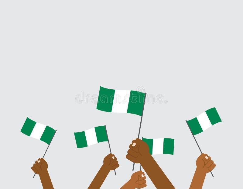 mani che tengono le bandiere della Nigeria royalty illustrazione gratis