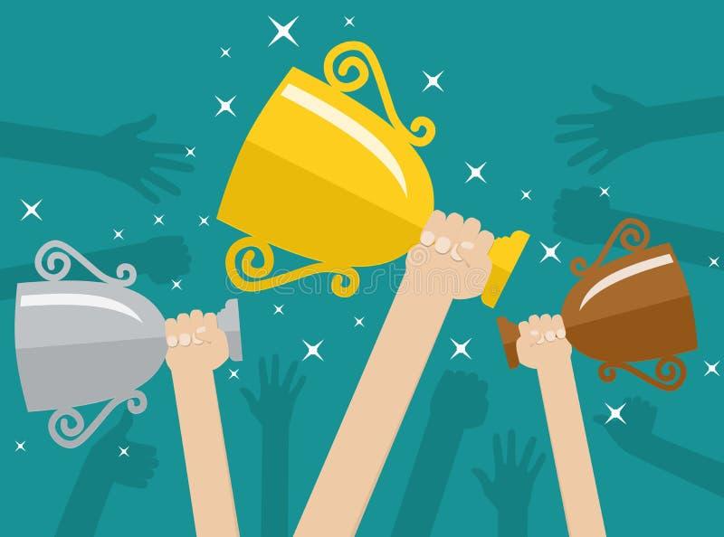 Mani che tengono le tazze del vincitore dei trofei illustrazione di stock