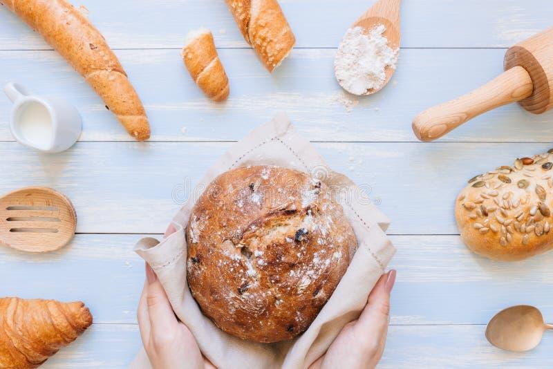 Mani che tengono pane fresco sulla vista superiore del fondo di legno blu immagini stock libere da diritti