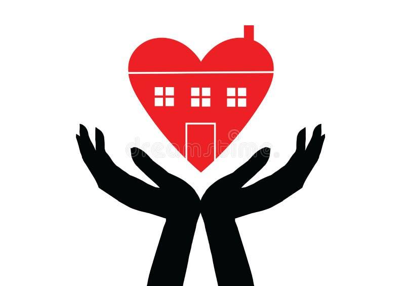 Mani che tengono simbolo della casa con la linea icona di forma del cuore Illustrazione di vettore fotografia stock libera da diritti