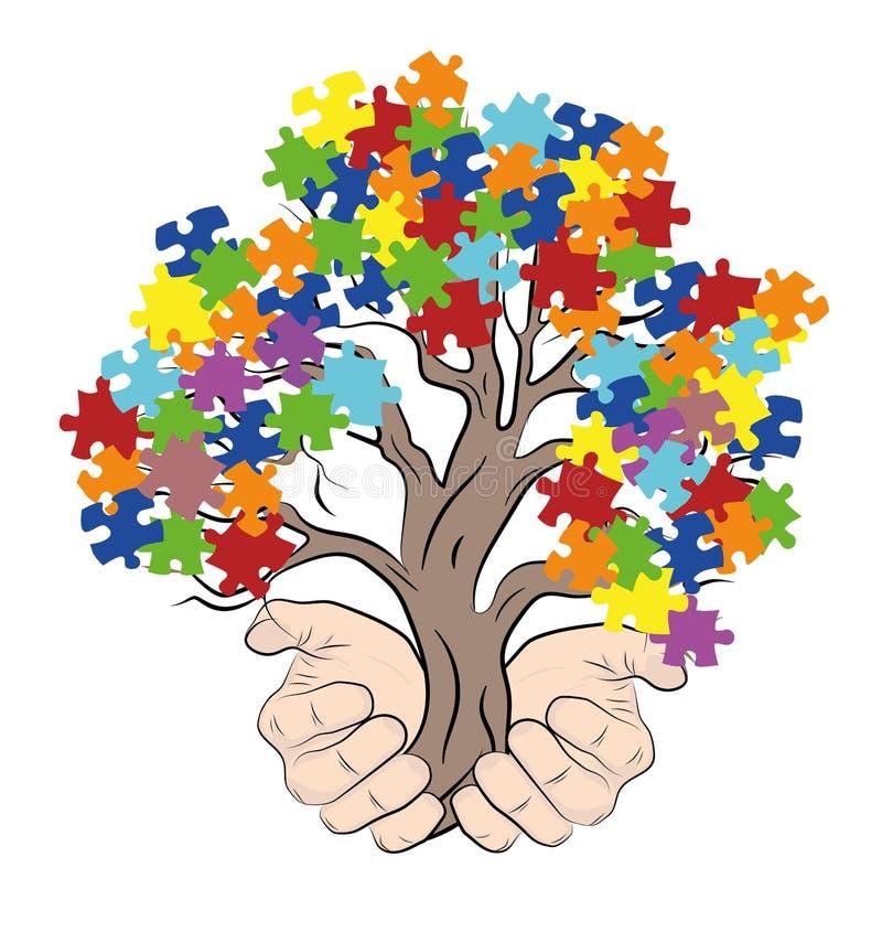 Mani che tengono un albero con i puzzle autism Illustrazione di vettore illustrazione di stock