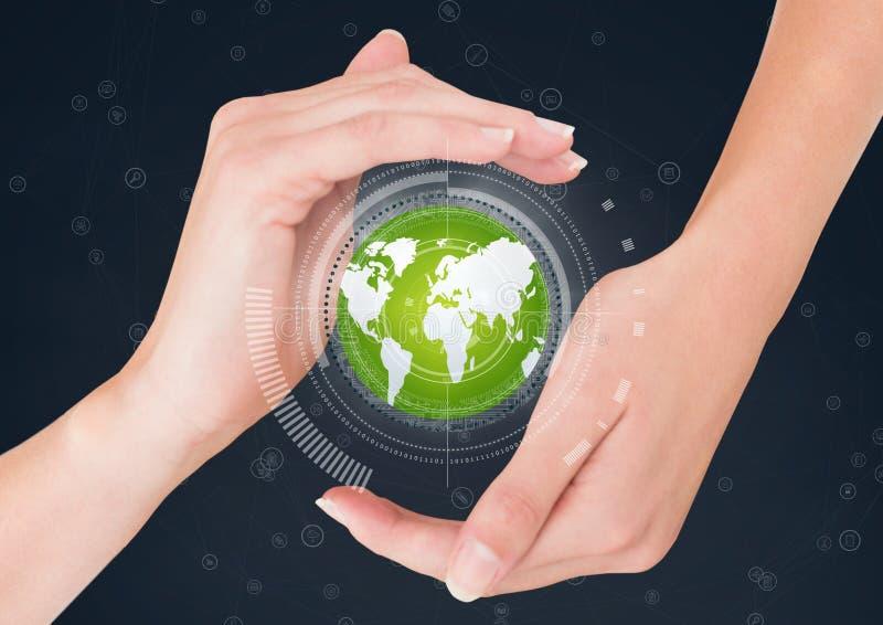 Mani che tengono un globo con i connettori illustrazione di stock