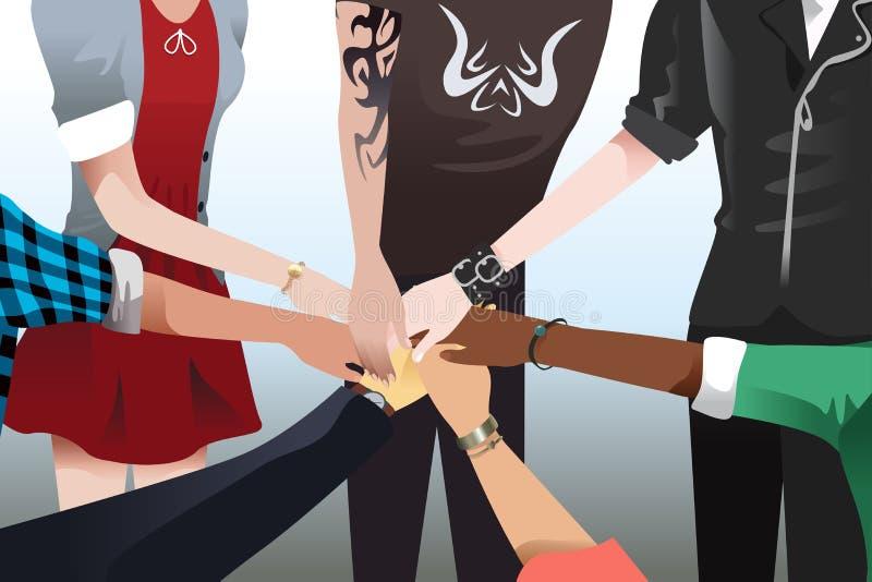 Mani che toccano insieme illustrazione vettoriale
