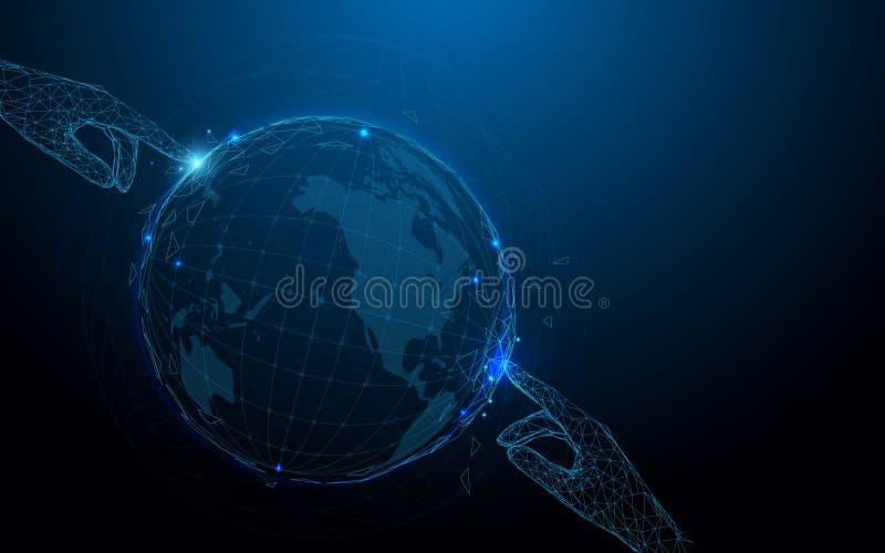 Mani che toccano le linee della forma del globo, i triangoli e progettazione di stile della particella illustrazione di stock