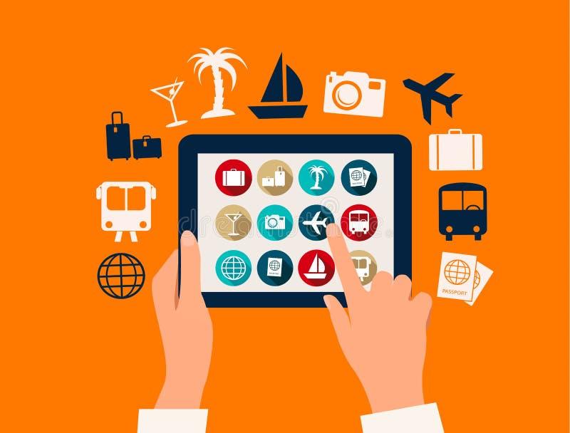 Mani che toccano una compressa con le icone di viaggio e di vacanza illustrazione di stock