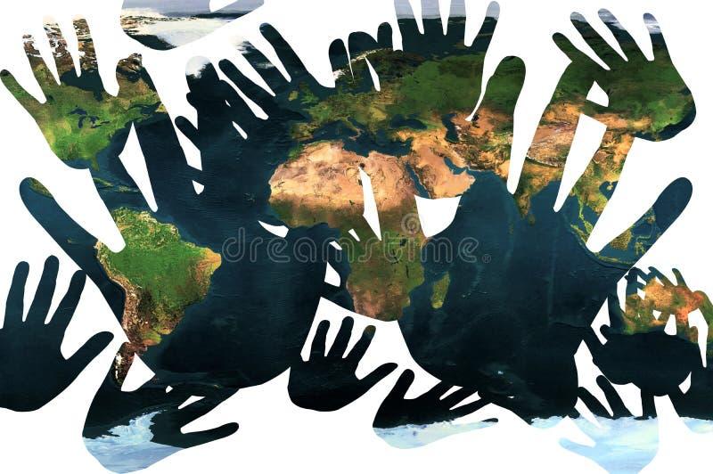 Mani che video la terra illustrazione di stock