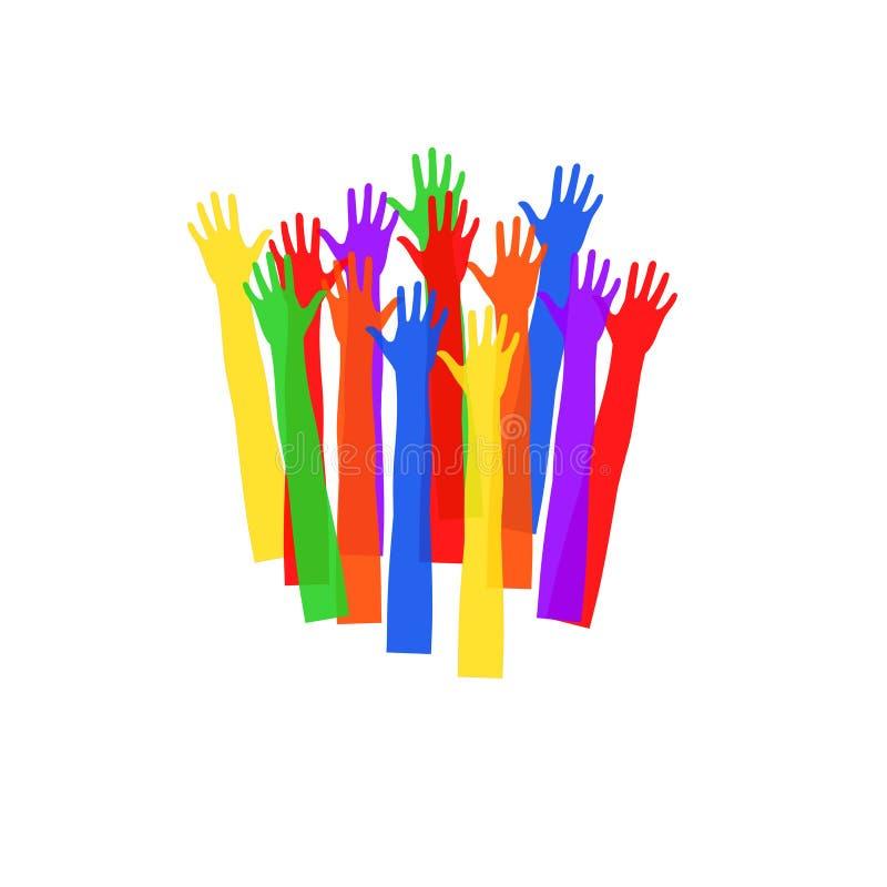 Mani colorate che allungano verso l'alto illustrazione con una vasta gamma di applicazioni fotografia stock libera da diritti