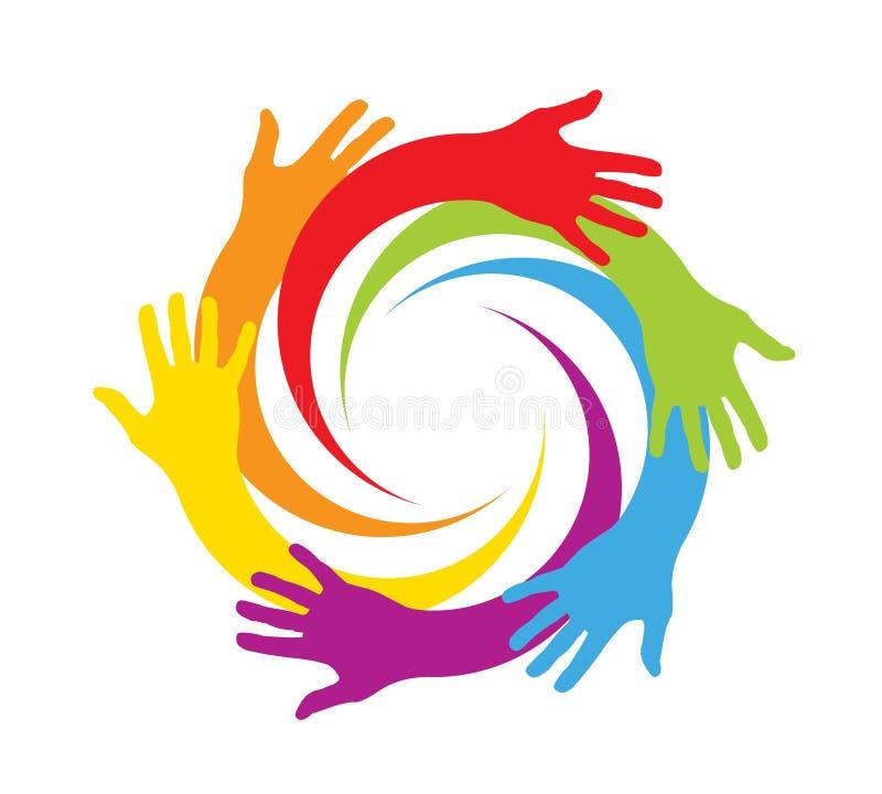 Mani colorate in un cerchio illustrazione vettoriale