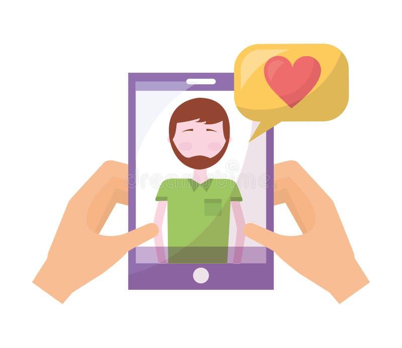 Mani con il cuore di amore della bolla di conversazione dell'uomo dello smartphone royalty illustrazione gratis