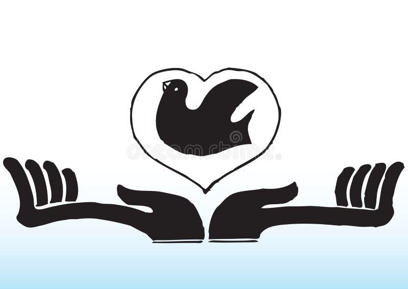 Mani con l'uccello nel cuore illustrazione vettoriale