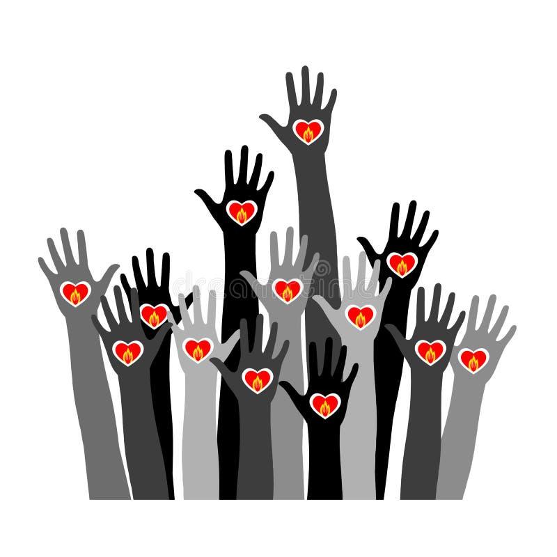Mani con la candela bruciante Siluetta delle mani con un cuore acceso Simbolo del ricordo illustrazione vettoriale