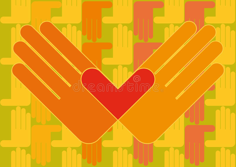 Mani con la carta da parati del cuore fotografia stock libera da diritti