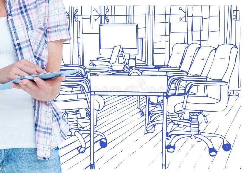 mani con la compressa davanti al tiraggio del blu dell'ufficio illustrazione di stock