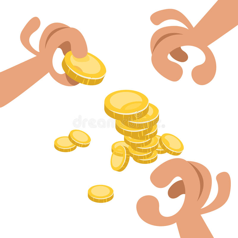 Mani con le monete di oro fotografie stock libere da diritti