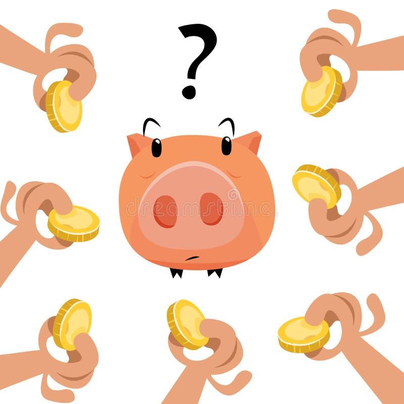 Mani con le monete ed il porcellino salvadanaio di oro fotografia stock