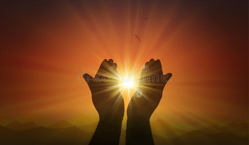 Mani con scintilla di speranza, luce della fede, tramonto arancione illustrazione di stock