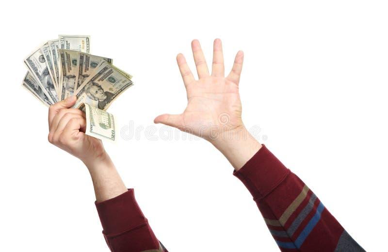 Mani con soldi fotografia stock libera da diritti