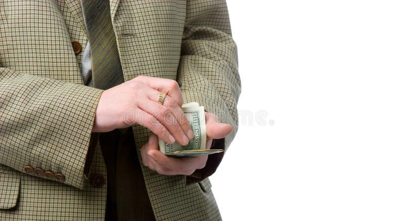 Mani con soldi immagine stock