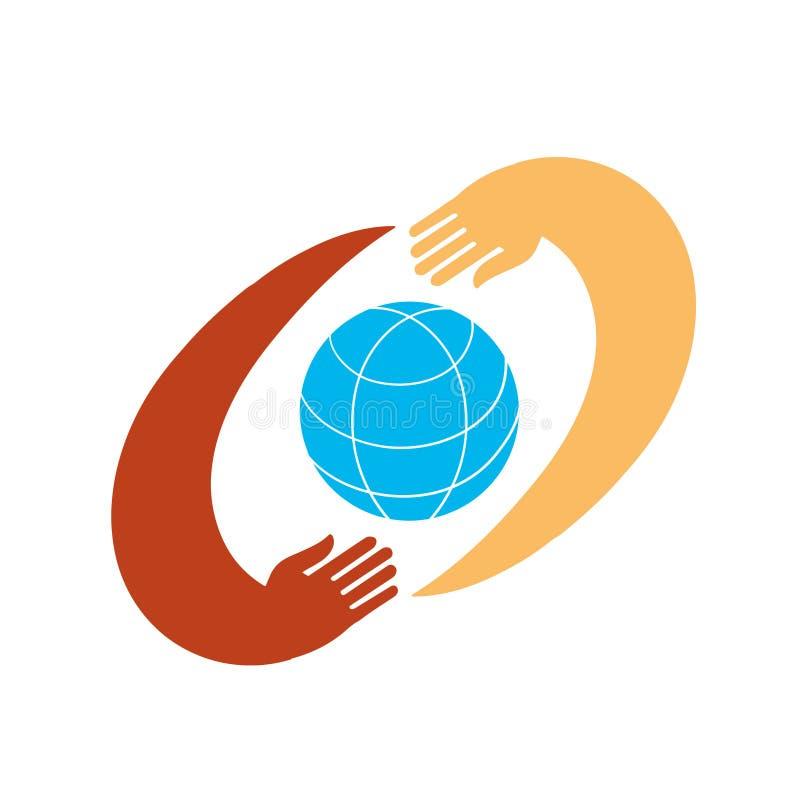Mani con terra, la gente del mondo che tiene il globo royalty illustrazione gratis